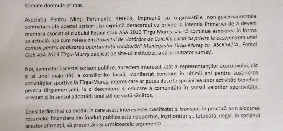 Scrisoare deschisă de protest împotriva asocierii Primărie – ASA