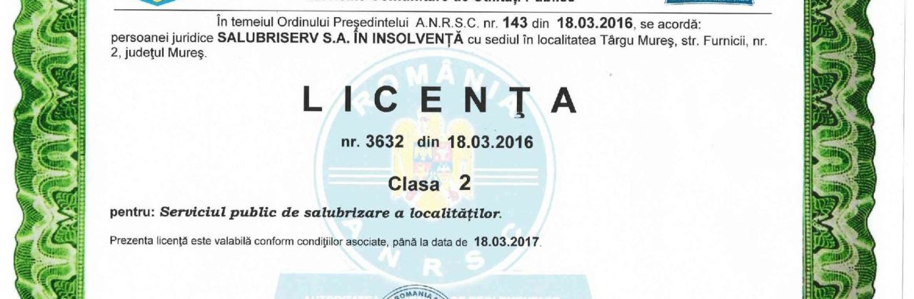 Salubriserv ne arată licența de operare