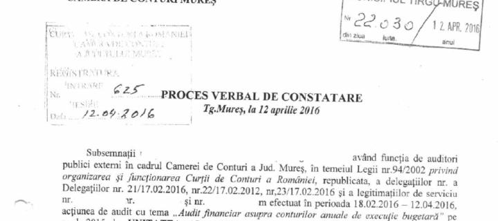 Raportul de audit al Curții de Conturi la Primăria Tîrgu-Mureș